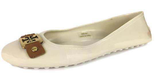Tory Burch Plastic Logo Ballet Casual Comfortable White Flats Image 0