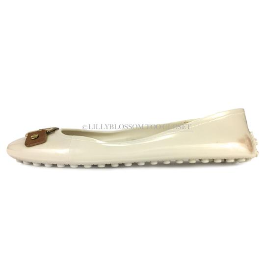 Tory Burch Plastic Logo Ballet Casual Comfortable White Flats Image 1