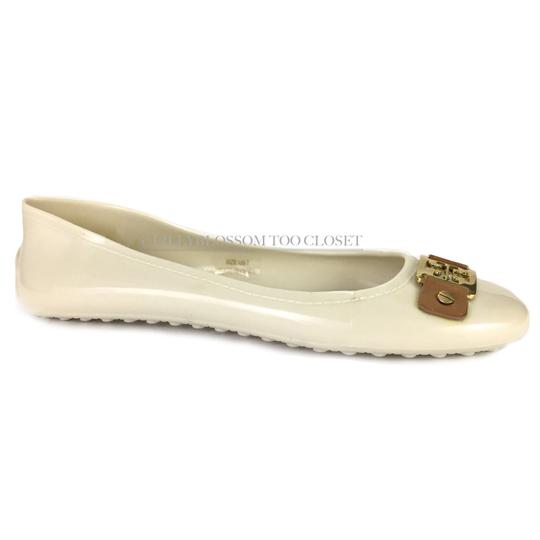 Tory Burch Plastic Logo Ballet Casual Comfortable White Flats Image 2