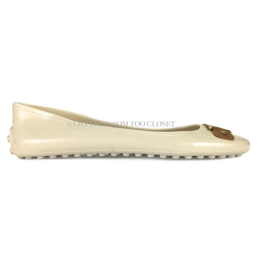 Tory Burch Plastic Logo Ballet Casual Comfortable White Flats Image 3