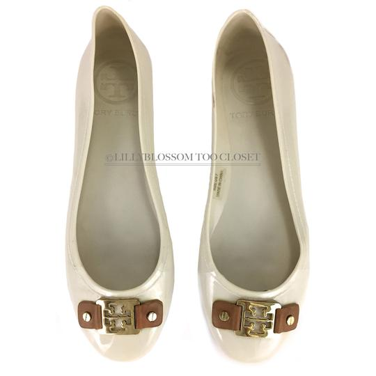 Tory Burch Plastic Logo Ballet Casual Comfortable White Flats Image 4
