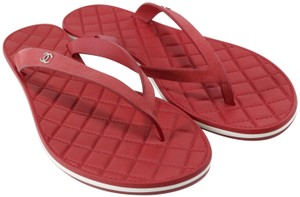 Chanel Classic Slides Chain Slide Red Sandals