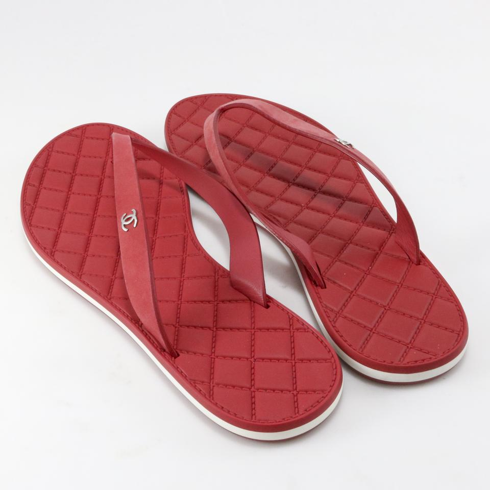 6597f62b0fb Chanel Red 15p Suede Calf Quilted Rubber Thong Flip A672 Sandals Size EU  36.5 (Approx. US 6.5) Regular (M