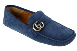 Gucci Blue 473768 Men's Gg Suede Driver 10.5g/11-11.5us Shoes