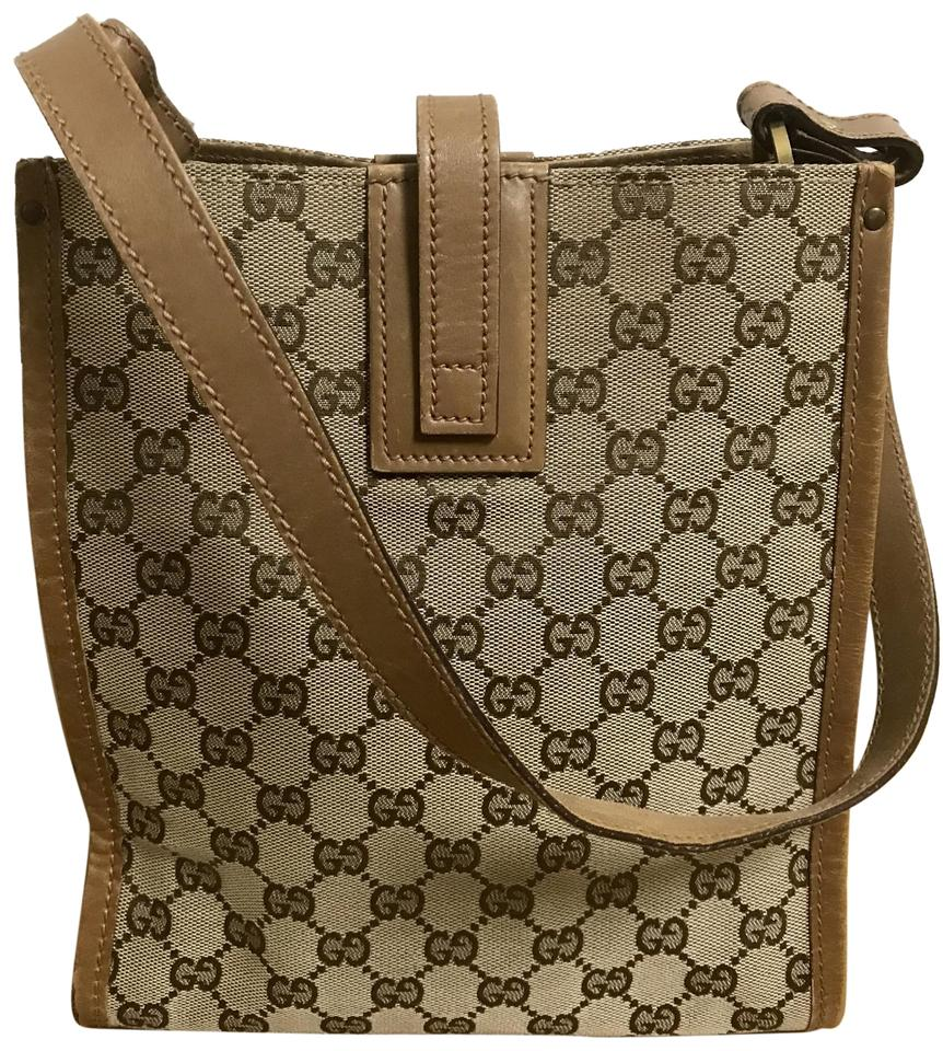 c9af8a202 Gucci Gg Pattern Canvas Leather Brown Shoulder Tote - Tradesy