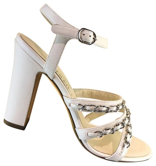 Item - White Ivory Silver Chain Chain Sandal Sandals Pumps Size EU 40.5 (Approx. US 10.5) Regular (M, B)