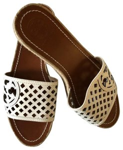 Tory Burch Leather Lining And Sole Cream Wedges