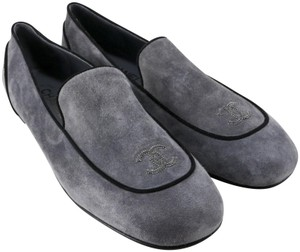 Chanel Logo Mocassins Loafers Suede Gray Flats