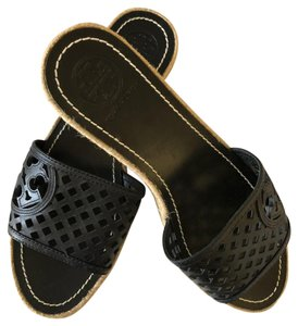 Tory Burch Leather Espadrille Slides Black Wedges