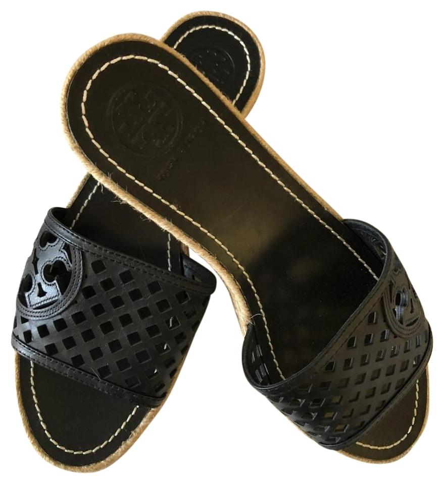 ef8ccabdc5898 Tory Burch Black Perforated Leather Espadrille Slides Wedges Size US ...
