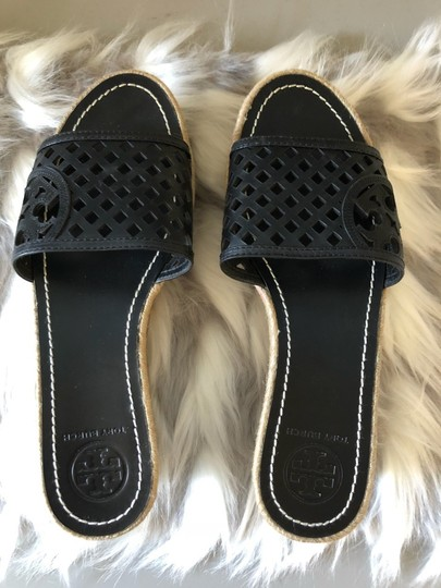 Tory Burch Leather Espadrille Slides Black Wedges Image 1