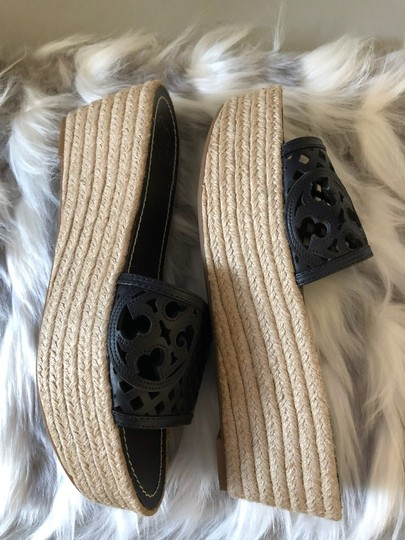 Tory Burch Leather Espadrille Slides Black Wedges Image 4