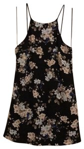 Sage short dress Black/white beige floral/blue on Tradesy