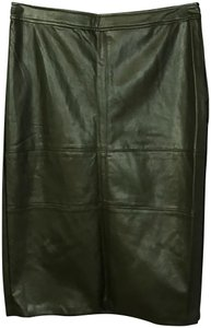 Very J Faux Leather Skirt Olive Green