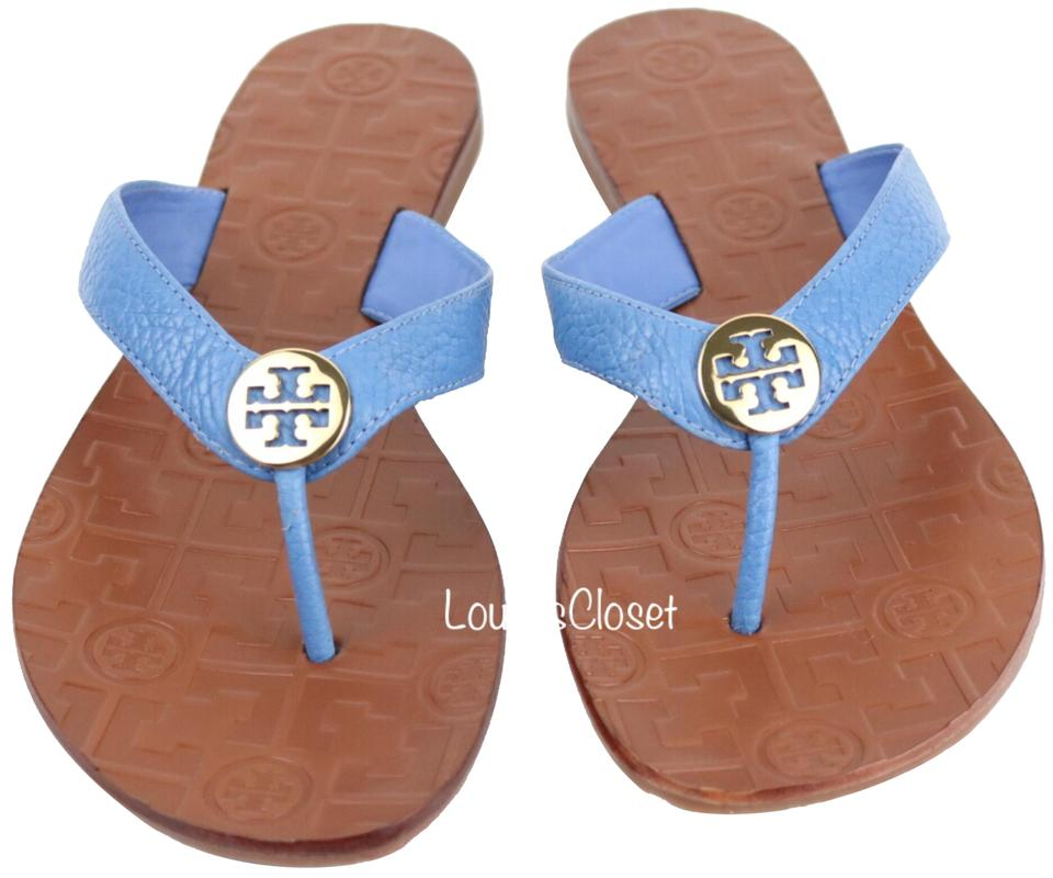 74e180e95 Tory Burch Chambray   Gold Thora Tumbled Leather Sandals Size US 8.5 ...