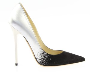 Jimmy Choo Suede Pointed Toe Black / Silver Pumps