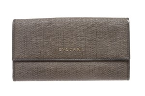 BVLGARI Bvlgari Gray Coated Canvas Leather Trim Continental Long Wallet