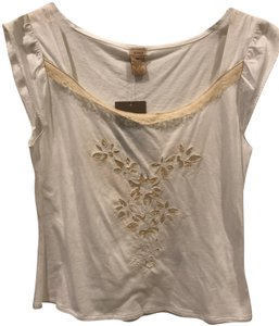 f21dd945d3c160 Anthropologie Flutter Sleeves Top Zoey- White w Ivory Lace
