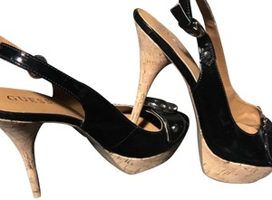Guess Black & Cork Wedges