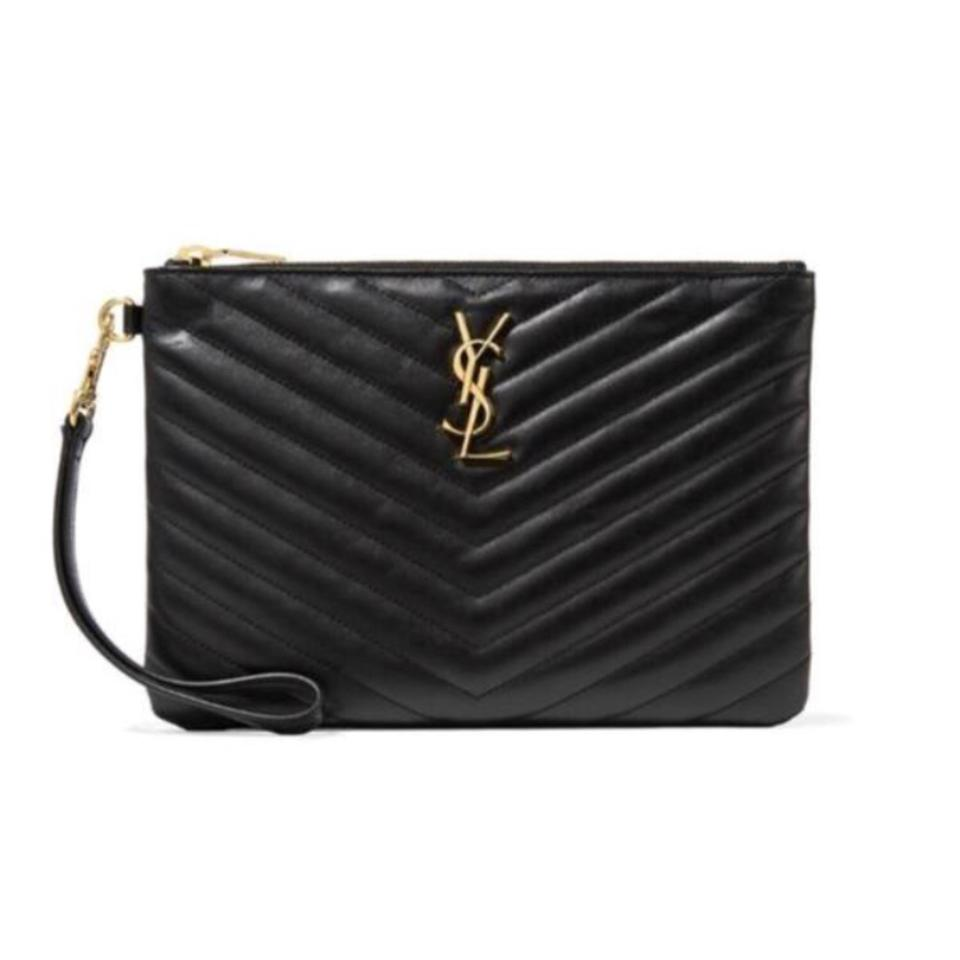 61679938f3 Saint Laurent Monogram Quilted Leather Pouch Clutch - Tradesy