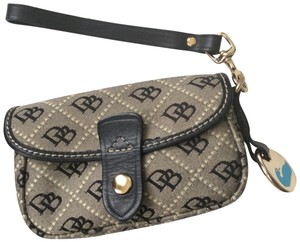 Dooney & Bourke Brown Leather Gold Hardware Canvas Wristlet in Black and Gray