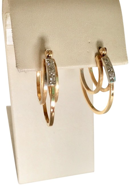 Item - Diamonds and 14k Yellow Gold With Spectacular Double Circle Earrings