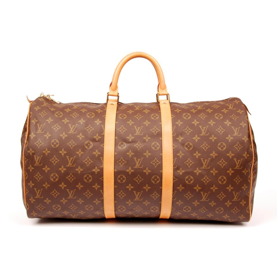 736235dfae34 Louis Vuitton Keepall 55 5961 Brown Monogram Canvas Leather Weekend Travel  Bag