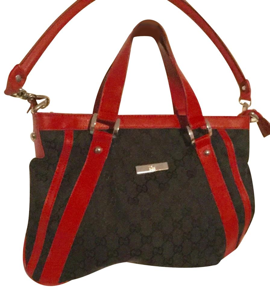 c2dc2d6a2319 Gucci Jackie Gg Red and Black Canvas Leather Shoulder Bag - Tradesy