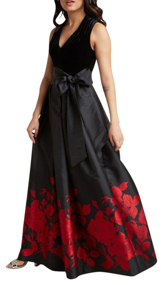 Eliza J Black & Red Velvet Maxi Dress/Gown Long Formal Dress Size 8 ...