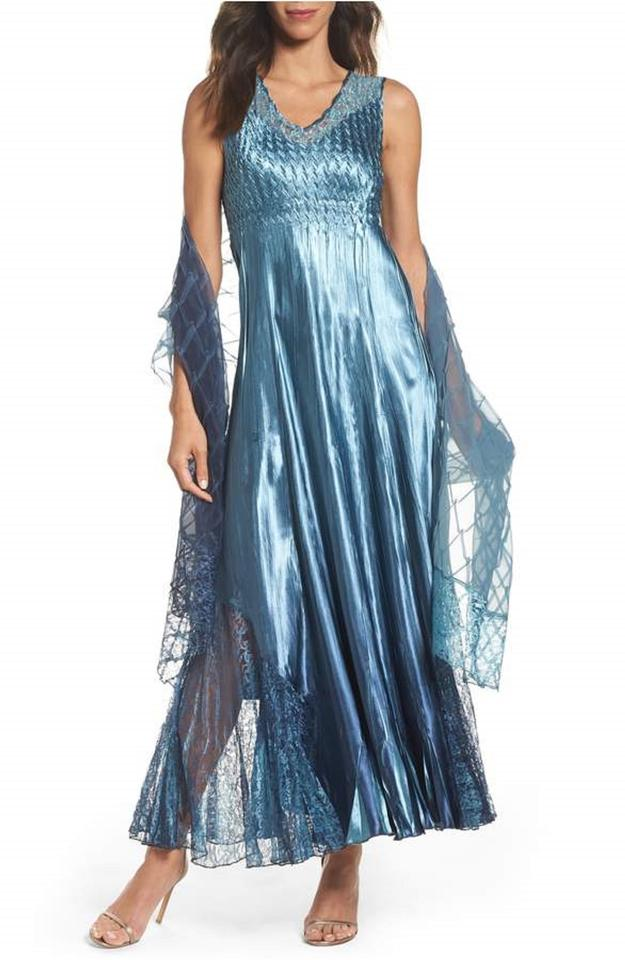 6fe81a9c100 Komarov Blue Lace Back Sleevless Gown   Matching Shawl Long Formal ...