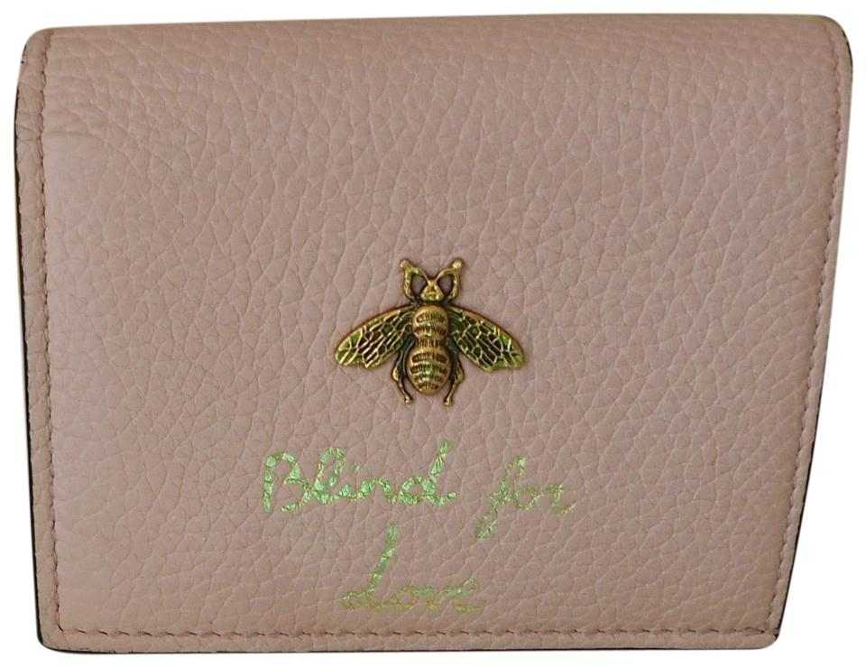96892056907ddf Gucci Pink Animalier Bee Leather Card Case Wallet - Tradesy