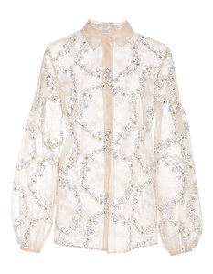 Gabriela Hearst Silk Embroidered Top pink