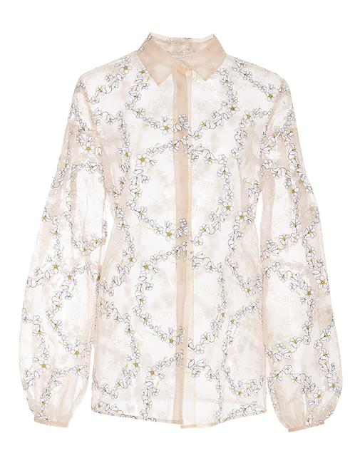 Item - Pink Selene Sheer Silk Organza Embroidered Blouse Size 2 (XS)