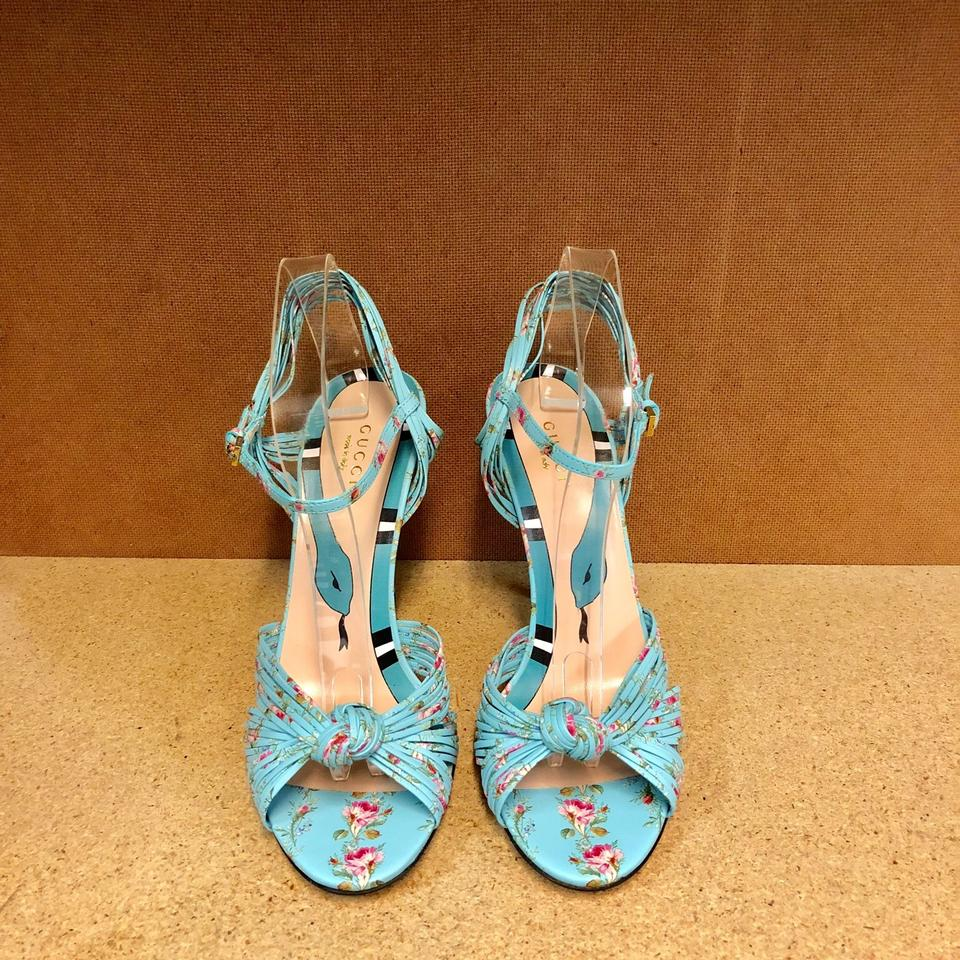 db438b973 Gucci Allie Knot Floral Leather Sandals Size EU 36.5 (Approx. US 6.5 ...