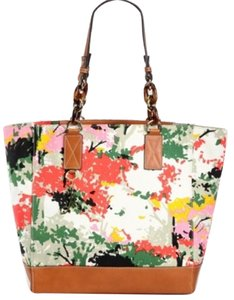 MILLY Leather Tote in Rare Calfskin and Floral Canvas * Bursting in Brilliant Shades of Green, Yellow, Red, Pink