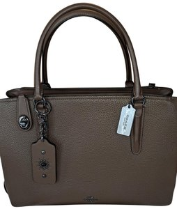 Coach Leather Navy Carryall New Satchel in Fatigue green/brownish and gunmetal