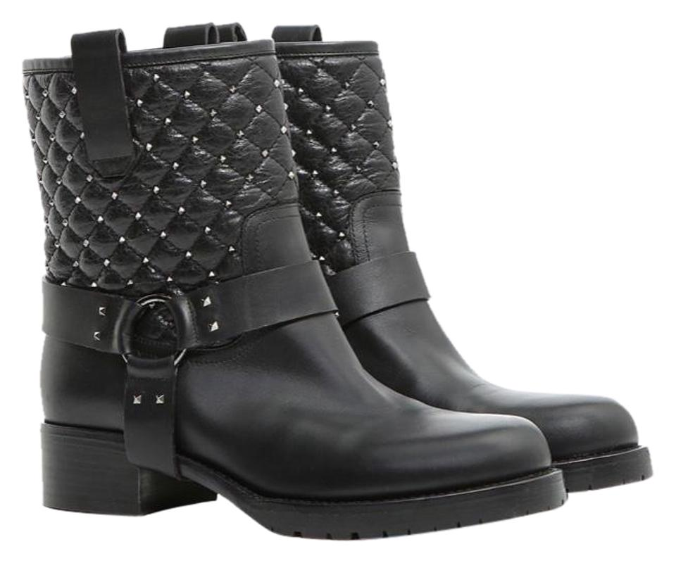 2f61af661c9 Valentino Black Rockstud Spike Biker Nw2s0e29uje 0no Boots/Booties Size EU  41 (Approx. US 11) Regular (M, B) 57% off retail