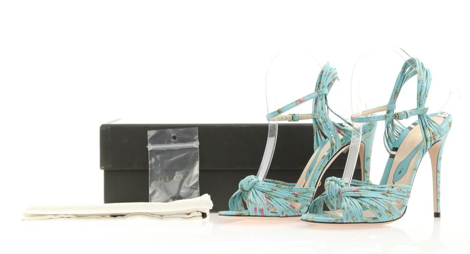 1ca4da89f Gucci Blue Allie Knot Floral Leather Sandals Size EU 38 (Approx. US ...