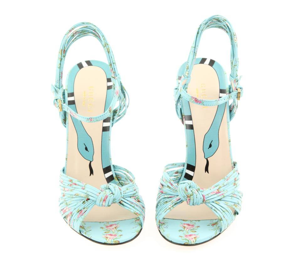 e34bf1934 Gucci Blue Allie Knot Floral Leather Sandals Size EU 38 (Approx. US 8)  Regular (M, B) - Tradesy