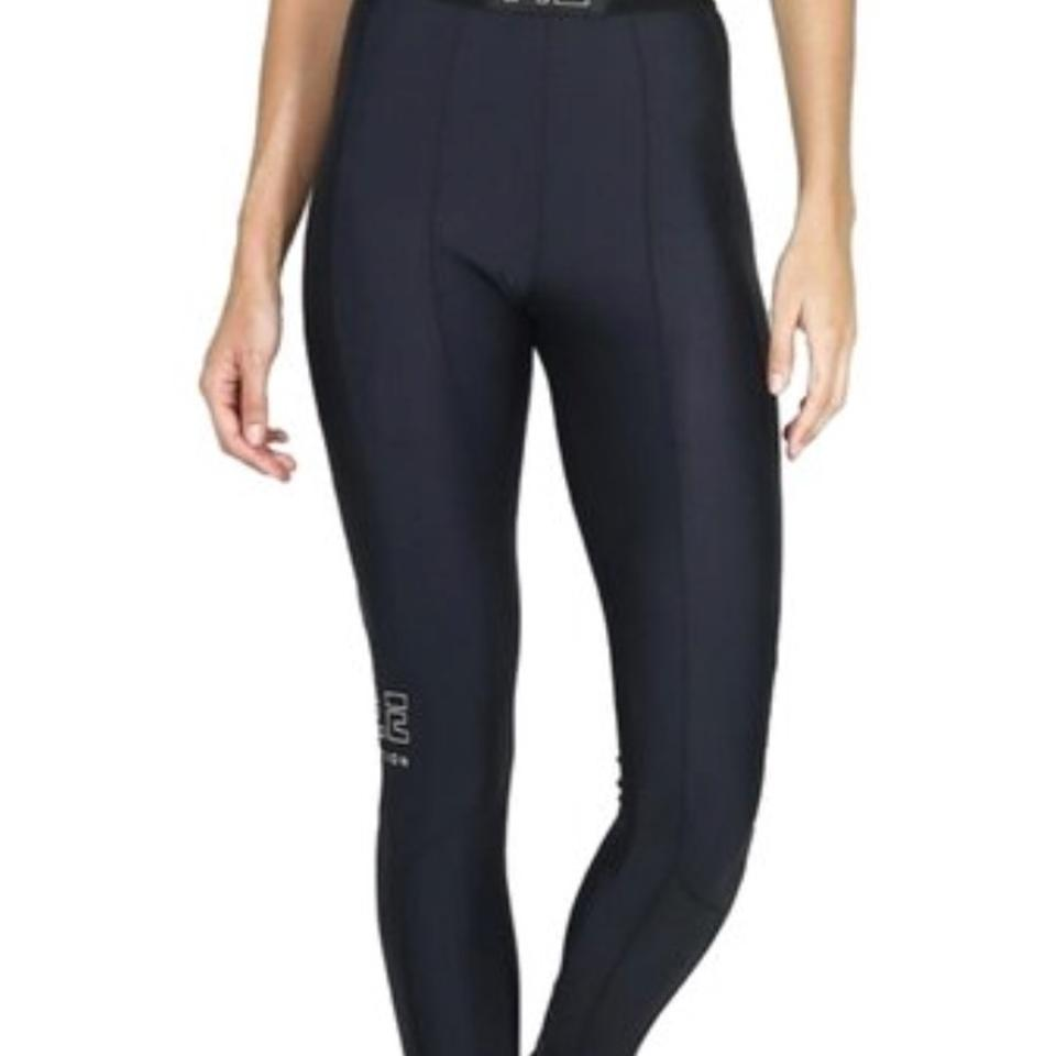 2003a5c7 P.E NATION Black with Gold Detailing Riseball Solid Full-length Performance  Activewear Bottoms