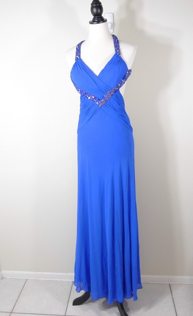Item - Blue Silk Beaded Sequin Open Back Formal Bridesmaid/Mob Dress Size 2 (XS)