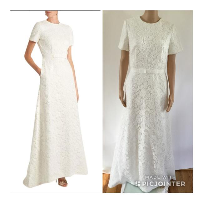 Item - White Guipure Lace Open Back Long Formal Dress Size 8 (M)