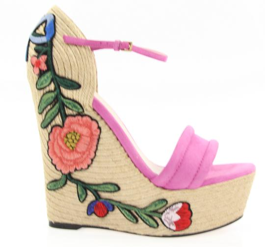 Gucci Pink Floral Embroidered Suede
