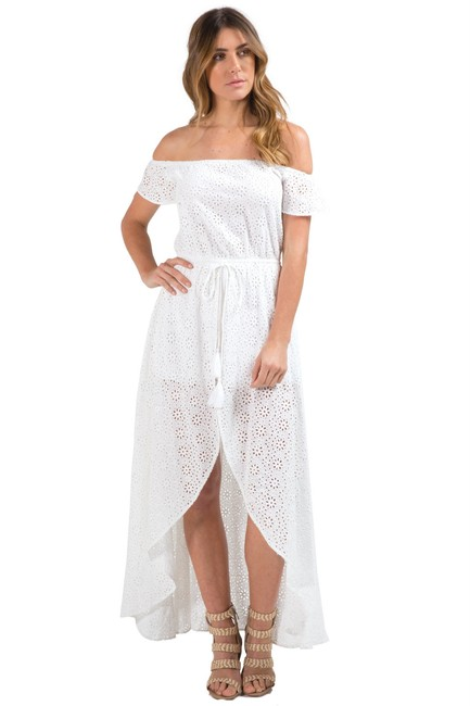 Item - White Hi Lo with Shorts Long Casual Maxi Dress Size 8 (M)