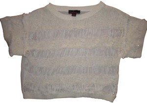 Takeout Lightweight Cropped Sheer Back Loop Front Short Sleeve Sweater