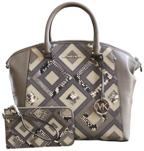 d2a79766e7ee Michael Kors Pebbled Leather Top Zip Closure Satchel in DK TAUPE