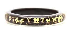 Louis Vuitton Monogram inclusion flowers logo cuff Bracelet Bangle