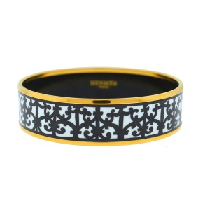 Hermès Hermes Wide Black And White Bangle