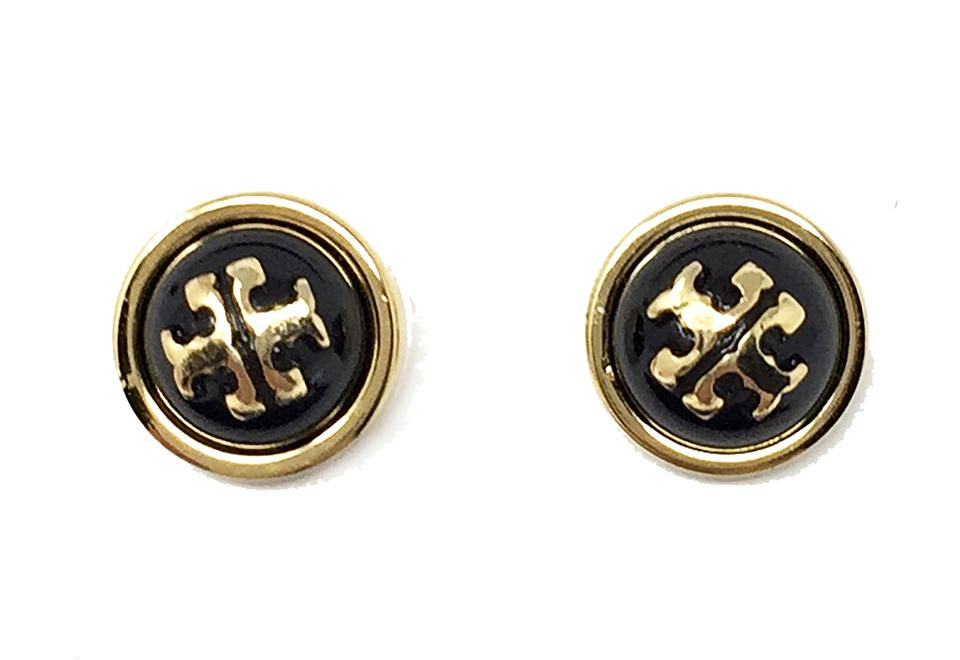 Tory Burch Black And Gold Stud Melody Earrings