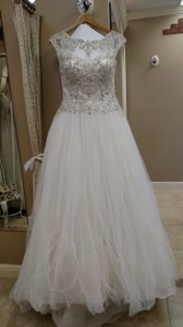2642629623f Sottero and Midgley Diamond White Pewter Tulle Organza Monaco Feminine Wedding  Dress Size 10